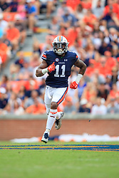 Auburn Tigers wide receiver Kyle Davis (11) looks on during an NCAA football game against the Mississippi Rebels, Saturday, October 7, 2017, in Auburn, AL. Auburn won 44-23. (Paul Abell via Abell Images for Chick-fil-A Peach Bowl)