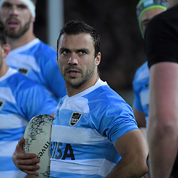 Argentina's Martin Landajo watches NZ's Brodie Retallick come back on for a scrum during the Rugby Championship match between the New Zealand All Blacks and Argentina Pumas at Trafalgar Park in Nelson, New Zealand on Saturday, 8 September 2018. Photo: Dave Lintott / lintottphoto.co.nz
