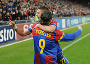 Basel v Manchester United Champions League 07/12/2011. Marco Streller (basel) celebrates after scoring Photo Daniel TeuscherFotosports  International/EQI * UK only