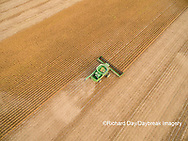 63801-09411 Soybean Harvest, John Deere combine harvesting soybeans - aerial - Marion Co. IL