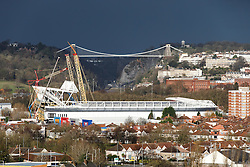 A General View of Ashton Gate Stadium, home of Bristol City Football Club and Bristol Rugby, as the new West Stand Roof takes shape, with te iconic Clifton Suspension Bridge seen spanning the Avon Gorge in the background - Mandatory byline: Rogan Thomson/JMP - 08/12/2015 - SPORT - Ashton Gate Stadium - Bristol, England.