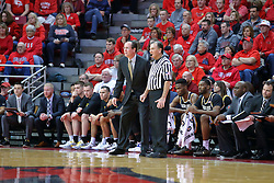 14 January 2017:  Gregg Marshall stands in front of his bench next to referee Tom O'Neill during an NCAA  MVC (Missouri Valley conference) mens basketball game between the Wichita State Shockers the Illinois State Redbirds in  Redbird Arena, Normal IL