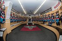 KELOWNA, CANADA - SEPTEMBER 24: The Kelowna Rockets' dressing room on September 24, 2016 at Prospera Place in Kelowna, British Columbia, Canada.  (Photo by Marissa Baecker/Shoot the Breeze)  *** Local Caption *** Dressing room;