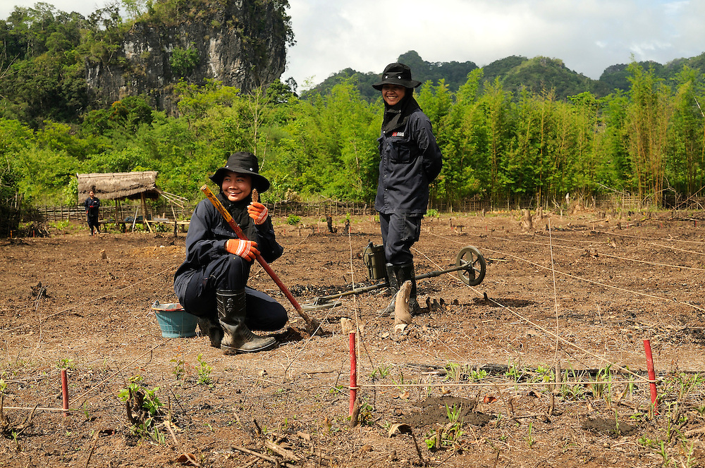 "Members of Mines Advisory Group female demining team uncover a piece of bomb scrap.  Clearing sites is pains taking and time consuming work with millions of bomb fragments buried next to live bombs...Laos was part of a ""Secret War"", waged within its borders primarily by the USA and North Vietnam.  Many left over weapons supplied by China and Russia continue to kill.  However, between 90 and 270 million fist size cluster bombs were dropped on Laos by the USA, with a failure rate up to 30%.  Millions of live cluster bombs still contaminate large areas of Laos causing death and injury.  The US Military dropped approximately 2 million tons of bombs on Laos making it, per capita, the most heavily bombed country in the world. ..The women of Mines Advisory Group (MAG) work everyday under dangerous conditions removing unexploded ordinance (UXO) from fields and villages...***All photographs of MAG's work must include (either on the photo or right next to it) the credit as follows:  Mine clearance by MAG (Reg. charity)***."