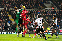 NEWCASTLE, ENGLAND - Saturday, December 11, 2010: Liverpool's Glen Johnson and Newcastle United's goalkeeper Tim Krul during the Premiership match at St James' Park. (Photo by: David Rawcliffe/Propaganda)