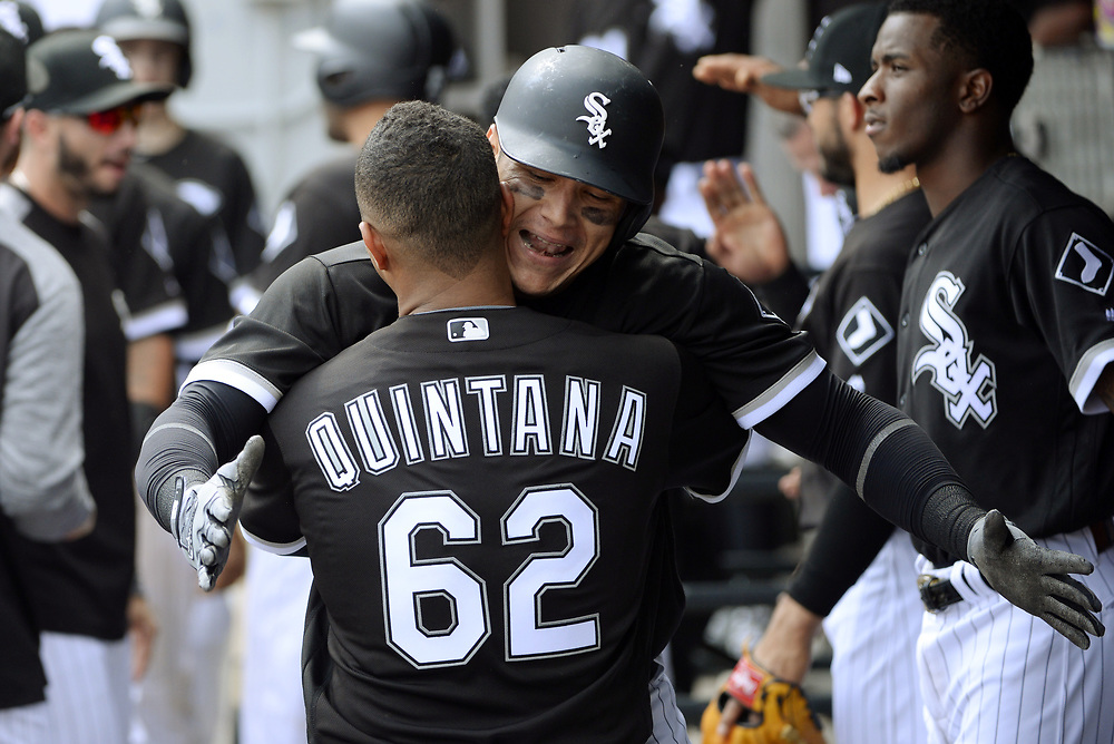 CHICAGO - APRIL 26:  Avisail Garcia #26 of the Chicago White Sox celebrates with teammates after hitting a two-run home run in the sixth inning against the Kansas City Royals on April 26, 2017 at Guaranteed Rate Field in Chicago, Illinois.  The White Sox defeated the Royals 5-2.  (Photo by Ron Vesely)   Subject:  Avisail Garcia
