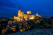 Segovia, famous for its Roman aqueduct, Cathedral and Alcazar, Castilla y Leon, Spain. El Alcazar