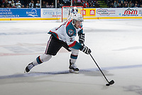 KELOWNA, CANADA - APRIL 25: Jesse Lees #2 of the Kelowna Rockets skates with the puck against the Portland Winterhawks on April 25, 2014 during Game 5 of the third round of WHL Playoffs at Prospera Place in Kelowna, British Columbia, Canada. The Portland Winterhawks won 7 - 3 and took the Western Conference Championship for the fourth year in a row earning them a place in the WHL final.  (Photo by Marissa Baecker/Getty Images)  *** Local Caption *** Jesse Lees;