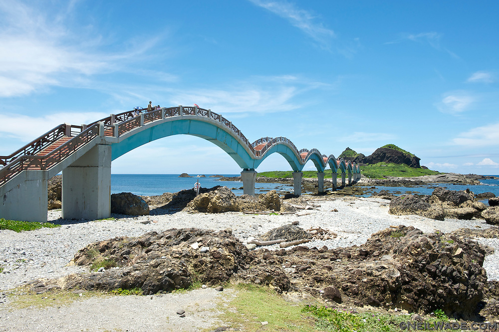 The Sanxiantai Dragon Bridge near Taitung, Taiwan is a beautiful tourist attraction on the east coast.