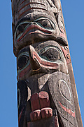 A Tlingit totem pole in Totem park carved by master carver Tommy Joseph in Petersburg, Mitkof Island, Alaska. Petersburg settled by Norwegian immigrant Peter Buschmann is known as Little Norway due to the high percentage of people of Scandinavian origin but was originally an indigenous Tlingit fishing camp.