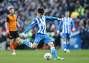 Joao Carlos Teixeira, Brighton midfielder shoots during the Sky Bet Championship match between Brighton and Hove Albion and Wolverhampton Wanderers at the American Express Community Stadium, Brighton and Hove, England on 14 March 2015.