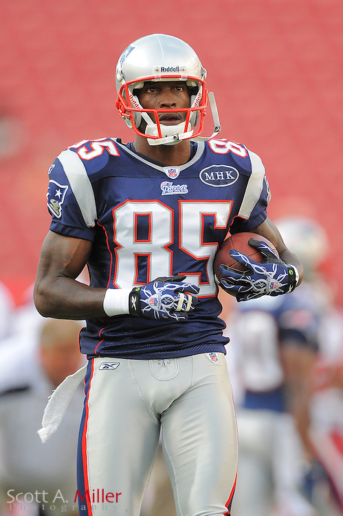 New England Patriots wide receiver Chad Ochocinco (85) prior to the Pats game against the Tampa Bay Buccaneers at Raymond James Stadium on Aug. 18, 2011 in Tampa, Fla...©2011 Scott A. Miller