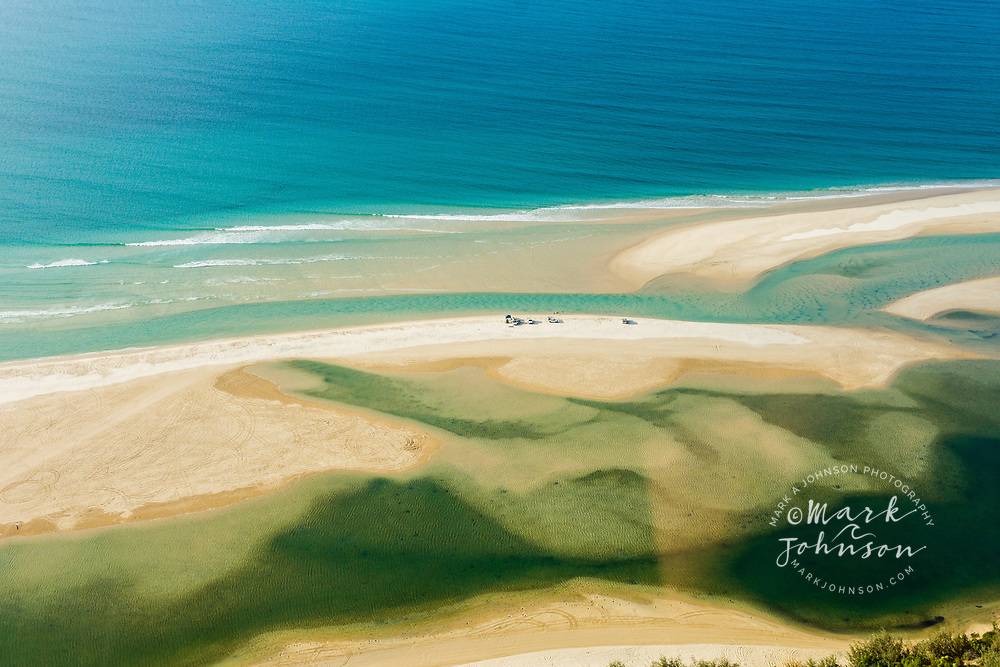 Aerial photograph of 4 wheel drives at Double Island Point, Great Sandy National Park, Sunshine Coast, Queensland, Australia