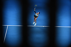 Spain's Garbine Muguruza plays a backhand return to Switzerland's Timea Bacsinszky during their women's singles match on day six of the Australian Open tennis tournament in Melbourne on January 19, 2019. Photo by Corinne Dubreuil/ABACAPRESS.COM