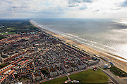 Nederland, Zuid-Holland, Katwijk, 15-07-2012; Katwijk vanaf de monding van de Oude Rijn met de wijk Rijnsoever en de Boulevard..The fishing village of Katwijk and the beach of the North Sea..luchtfoto (toeslag), aerial photo (additional fee required).foto/photo Siebe Swart