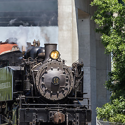 Granite Rock no. 10 Steam Engine Travels near the Waterfront in Sacramento
