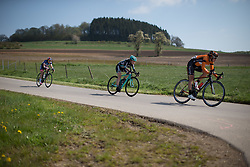 Rebecca Womersley (GBR) of Drops Cycling Team tackles a speedy downhill section in the first short lap during the second, 110.1km road race stage of Elsy Jacobs - a stage race in Luxembourg in Garnich on May 1, 2016.