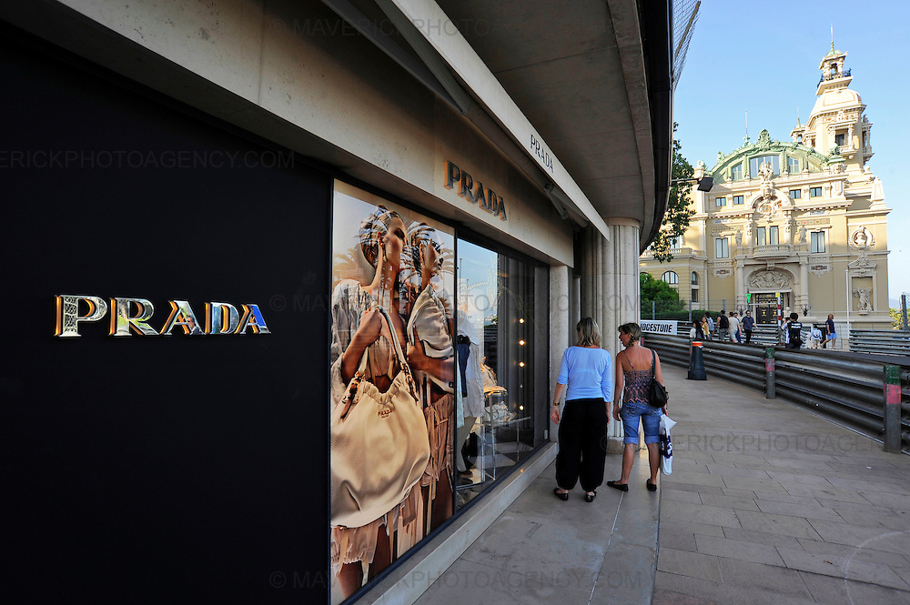 General view of a Prada store on streets of Monaco, Monte Carlo.