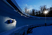 BOSTON, MA - DECEMBER 16: Barrett Martineau of Canada completes his second run during day 1 of the 2017 IBSF World Cup Bobsled & Skeleton at Lake Placid Olympic Center on December 16, 2016 in Lake Placid, New York. (Photo by Maddie Meyer/Getty Images)