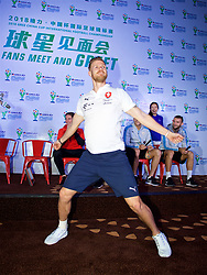 NANNING, CHINA - Saturday, March 24, 2018: Czech Republic's Lukáš Masopust plays Chinese whispers charades and acts out a cheerleader during a meet & greet event at the Nanning Wanda Mall during the 2018 Gree China Cup International Football Championship. (Pic by David Rawcliffe/Propaganda)