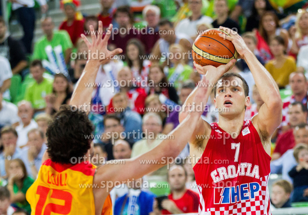 Sergio Llull #12 of Spain vs Bojan Bogdanovic #7 of Croatia during basketball match between National teams of Spain and Croatia in 3rd Place game at Day 19 of Eurobasket 2013 on September 22, 2013 in Arena Stozice, Ljubljana, Slovenia. (Photo by Vid Ponikvar / Sportida)