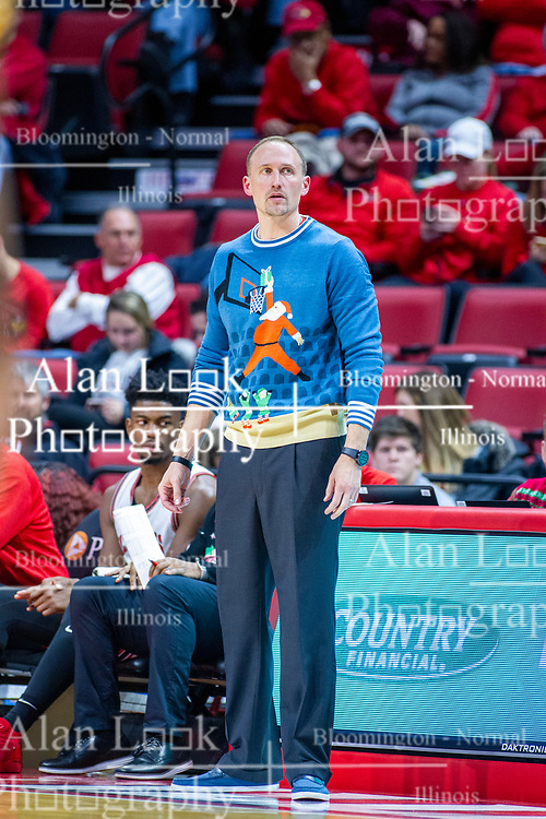 NORMAL, IL - December 07: Dan Muller sports an ugly Christmas sweater during a college basketball game between the ISU Redbirds and the Morehead State Eagles on December 07 2019 at Redbird Arena in Normal, IL. (Photo by Alan Look)