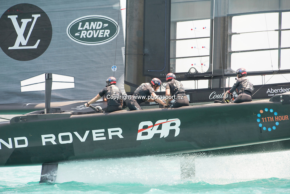 Land Rover BAR (GBR) practicing before racing. Day three of the America's Cup Qualifiers, Bermuda 29/5/2017 . Copyright Image: Chris Cameron / www.photosport.nz