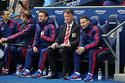 Manchester United Manager Louis van Gaal and Ryan Giggs during the Barclays Premier League match between Manchester City and Manchester United at the Etihad Stadium, Manchester, England on 20 March 2016. Photo by Phil Duncan.