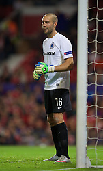 MANCHESTER, ENGLAND - Tuesday, August 18, 2015: Club Brugge's goalkeeper Sebastien Bruzzese in action against Manchester United during the UEFA Champions League Play-Off Round 1st Leg match at Old Trafford. (Pic by David Rawcliffe/Propaganda)