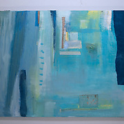 Layers 2, 2015<br /> oil, paper &amp; fabric<br /> 36&quot;x48&quot;<br /> $350.00<br /> by Dona Leon