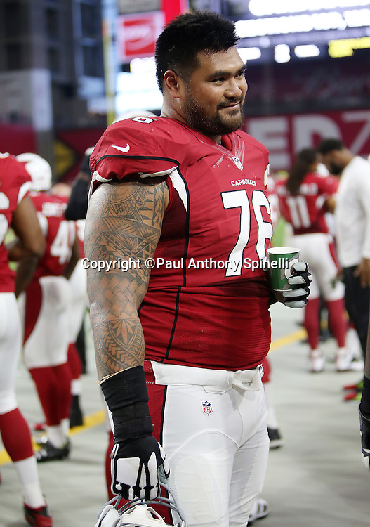 Arizona Cardinals guard Mike Iupati (76) looks on from the sideline during the 2015 NFL preseason football game against the Kansas City Chiefs on Saturday, Aug. 15, 2015 in Glendale, Ariz. The Chiefs won the game 34-19. (©Paul Anthony Spinelli)