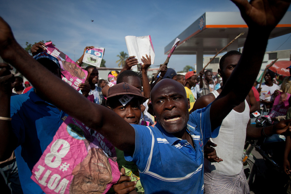Protesters, many of whom are supporters of Michel Martelly, take to the streets to protest the results of the January 28th election, which were announced last night.