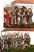 Sigismund and Barbara of Celje at the Council of Constance In 1414 to settle the Western Schism. Sigismund 1368 –1437) was King of Hungary and Croatia1387 to 1437, and Holy Roman Emperor 1433 until 1437
