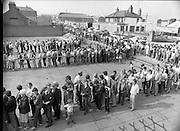 Croke Park Ticket Queues.1983.28.08.1983.08.28.1983.28 August 1983..Image taken as thousands of Dubliners queue to capture vital All Ireland Replay Tickets. The replay Between Dublin and Cork was to be held in Cork...Note: Dublin beat Cork in a very exciting encounter and the went on to beat Galway 1.10 to 1.08 in the final at Croke Park.