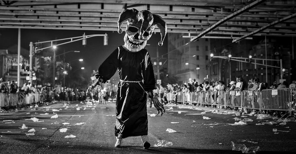 Skeleton in the Krewe d'Etat parade during the 2019 Mardi Gras season.