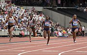 Jul 21, 2019; London, United Kingdom;  Shelly-Ann Fraser-Pryce (JAM), right, defeats Dina Asher-Smith (GBR), second from right, to win the women's 100m, 10.78 to 10.92, during the London Anniversary Games at London Stadium at  Queen Elizabeth Olympic Park. From left: Blessing Okagbare (NBR), Murielle Ahoure (CIV), Asher-Smith and Fraser-Pryce.