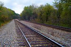 October 2009: Railroad train tracks disappear from sight as they round a bend. Sights to see in and around Galena Illinois.