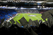 Leicester City and Sevilla walk out before kick-off of the Champions League round of 16, game 2 match between Leicester City and Sevilla at the King Power Stadium, Leicester, England on 14 March 2017. Photo by Richard Holmes.