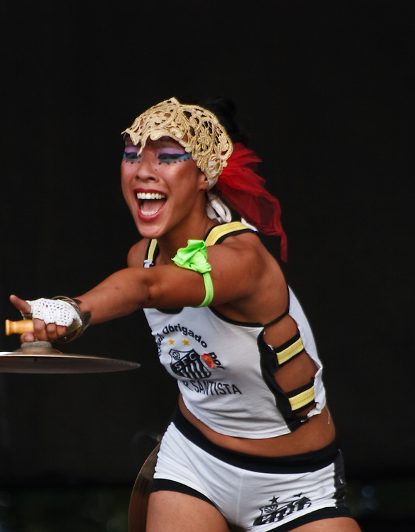 The exotic Elizabeth Chi-Wei Sun dances and plays percussion with Gogol Bordello at their ACL Festival 2008 performance in Austin, TX.