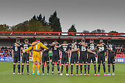 Remembrance day during the The FA Cup match between Accrington Stanley and York City at the Fraser Eagle Stadium, Accrington, England on 7 November 2015. Photo by Simon Davies.