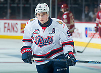 REGINA, SK - MAY 20: Jake Leschyshyn #19 of Regina Pats warms up against the Acadie-Bathurst Titan at the Brandt Centre on May 20, 2018 in Regina, Canada. (Photo by Marissa Baecker/CHL Images)