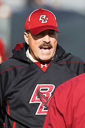 November 20, 2010; Chestnut Hill, MA, USA;  Boston College Eagles head coach Frank Spaziani on the sidelines before the game against the Virginia Cavaliers at Alumni Stadium.