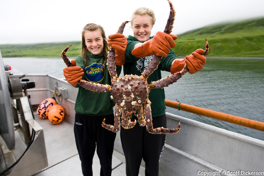 Commercial fishing deckhands, Claire and Emma Teal Laukitis, hold up a live Bristol Bay king crab.