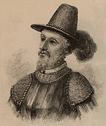 Juan Ponce De Leon (1460-1521) Spanish soldier and public servant who sailed with Columbus on his second voyage. Appointed by the Spanish government fo colonise Puerto Rico. Discovered Florida in April 1513. Late 19th century engraving.