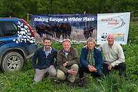 Rewilding team - Neil Birnie, Enterprise Director, Frans Schepers, Managing Director, Wouter Helmer, Rewilding Director and Staffan Widstrand, Communications director, at the release of European bison, Bison bonasus, in the Tarcu mountains nature reserve, Natura 2000 area, Southern Carpathians, Romania. The release was actioned by Rewilding Europe and WWF Romania in May 2014.