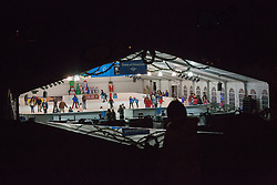 United States, Washington, Bellevue, Magic Season Ice Skating Rink at night