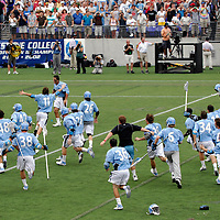 28 May 2007:  The Johns Hopkins University Blue Jays lacrosse team celebrate their 12-11 win over the Duke University Blue Devils in the NCAA Division I Lacrosse Championship game at M&T Bank Stadium in Baltimore, Md. .