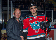 KELOWNA, CANADA - OCTOBER 27:  Andres Presentation with Erik Gardiner #12 of the Kelowna Rockets at the Kelowna Rockets game on October 27, 2017 at Prospera Place in Kelowna, British Columbia, Canada.  (Photo By Cindy Rogers/Nyasa Photography,  *** Local Caption ***