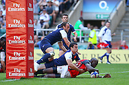 Twickenham, London - Sunday 23rd May 2010: Kenya score a hugely popular win against France in the Shield Final with this last-gasp try by Victor Sudi Simiyu during the Emirates London Sevens rugby tournament at Twickenham Stadium, London, UK. (Pic by Andrew Tobin/Focus Images)