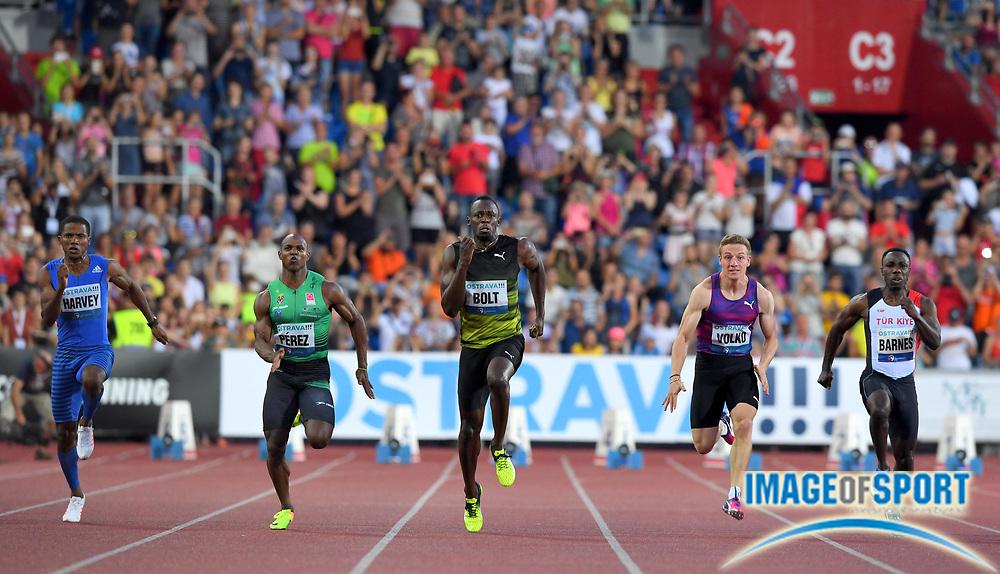 Usain Bolt (JAM), center, wins the 100m 10.06 during the 56th Ostrava Golden Spike in an IAAF World Challenge meeting at Mestky Stadion in Ostrava, Czech Republic on Wednesday, June 28, 20017. From left: Jak Ali Harvey (TUR), Yunier Perez (CUB), Bolt, Jan Volko (SVK), Emre Zafer Barnes (TUR). (Jiro Mochizuki/Image of Sport)